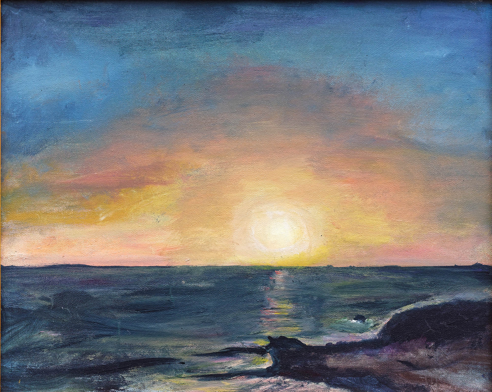 2014 - Sonnenuntergang Lanzarote - 50x40 cm, Acryl