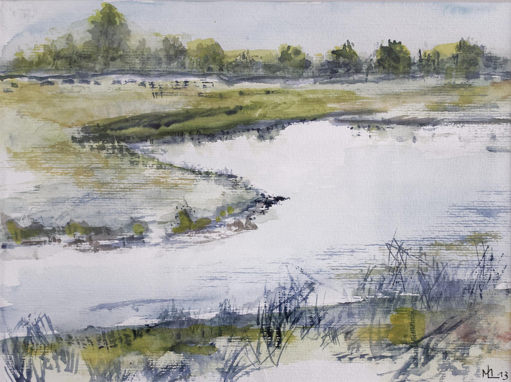 1996 - Flusslandschaft, 40x30cm, Aquarell