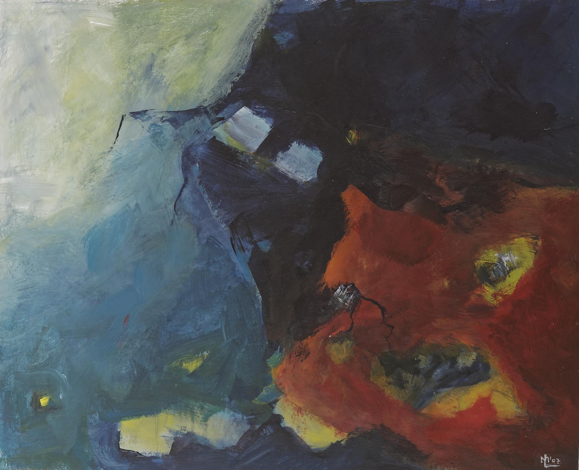 2003 - Zwei blaue Quadrate, 60x50cm, Acryl