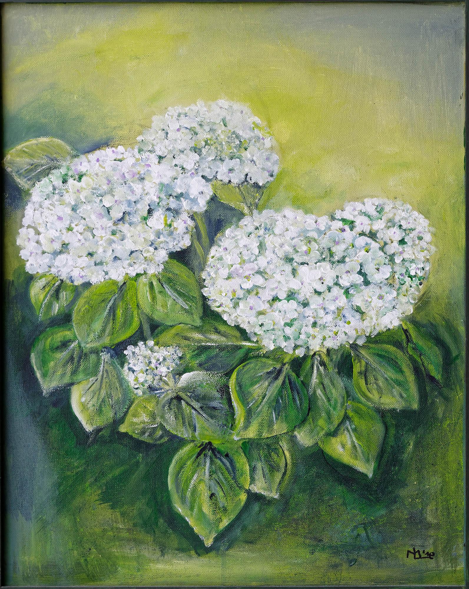 2010 - Weiße Hortensien, 40x50cm, Acryl-Spachteln