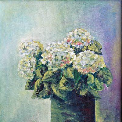 2014 - Hortensie grün, 40x50cm, Acryl