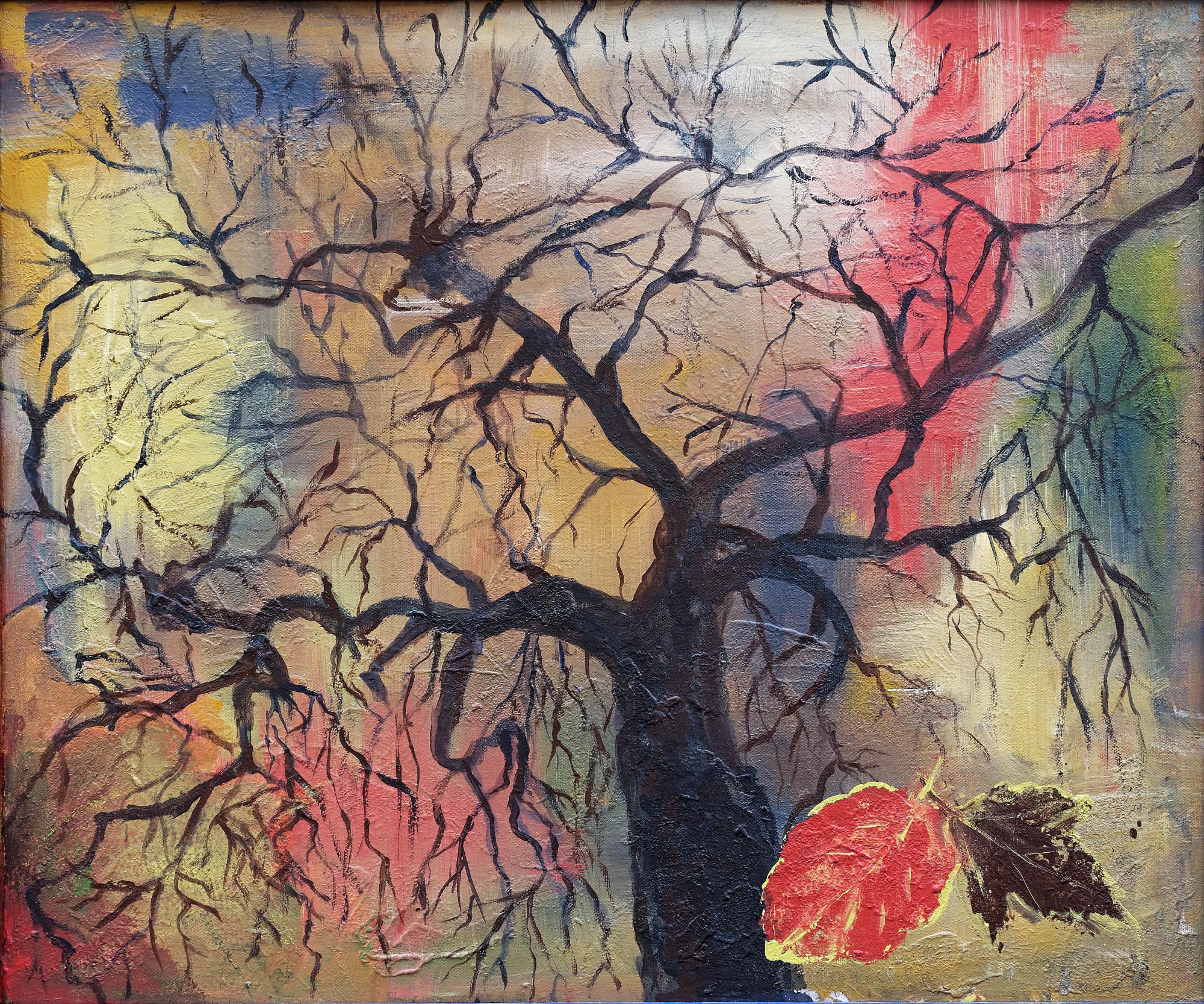2017 - Baum im Herbst, 50x40cm, Acryl-Spachteln