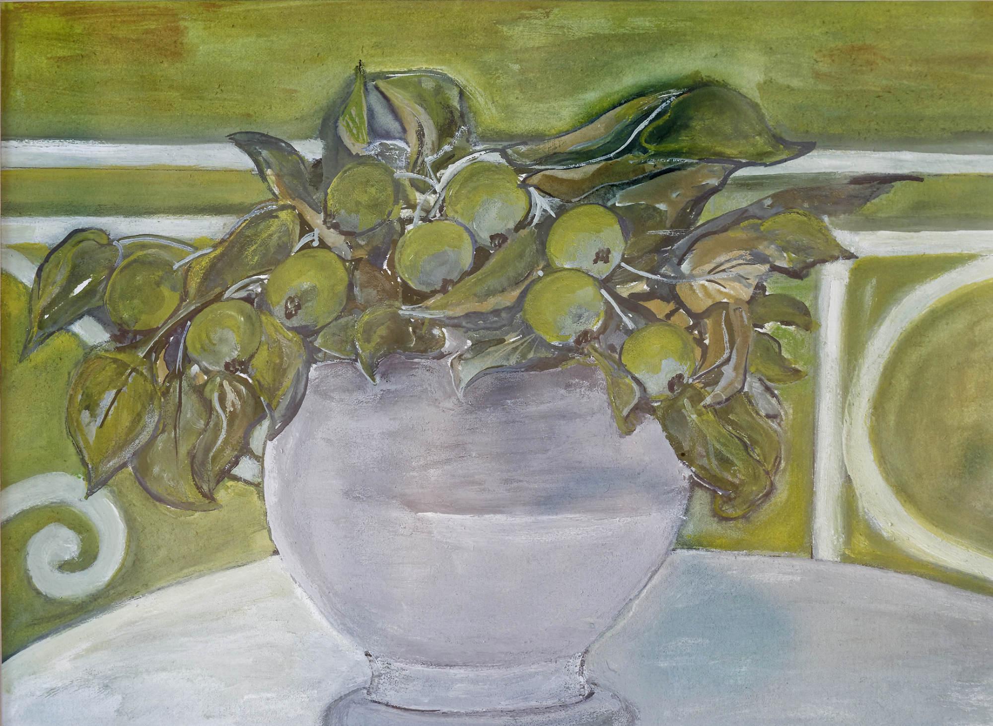 2012, Weiße Vase mit Früchten, 50x40cm, Acryl