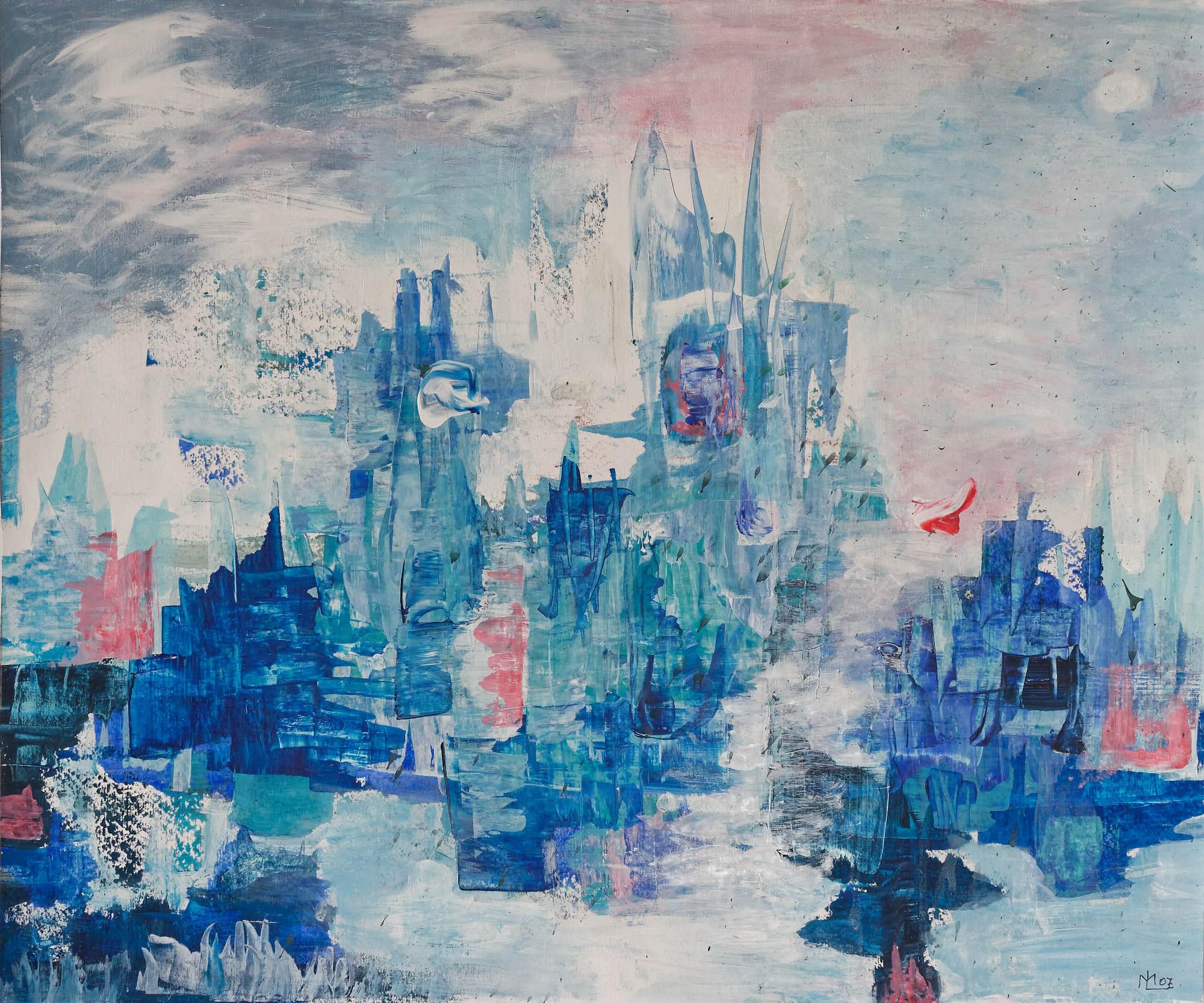 2003 - Blaue Stadt, 50x40cm, Acryl-SPachteln