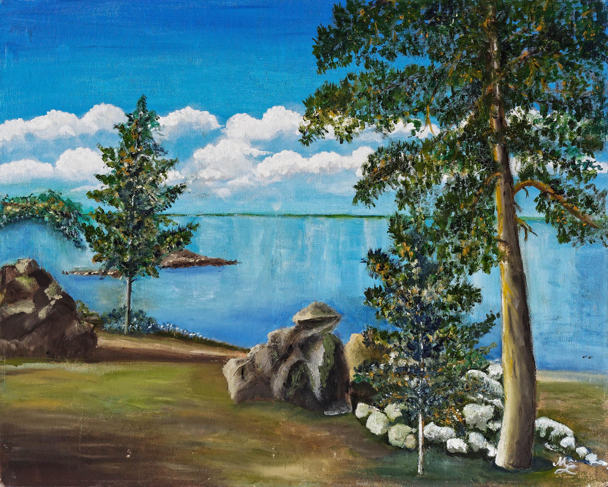 2002 - Landschaft mit Steinen, 50x40cm, Öl
