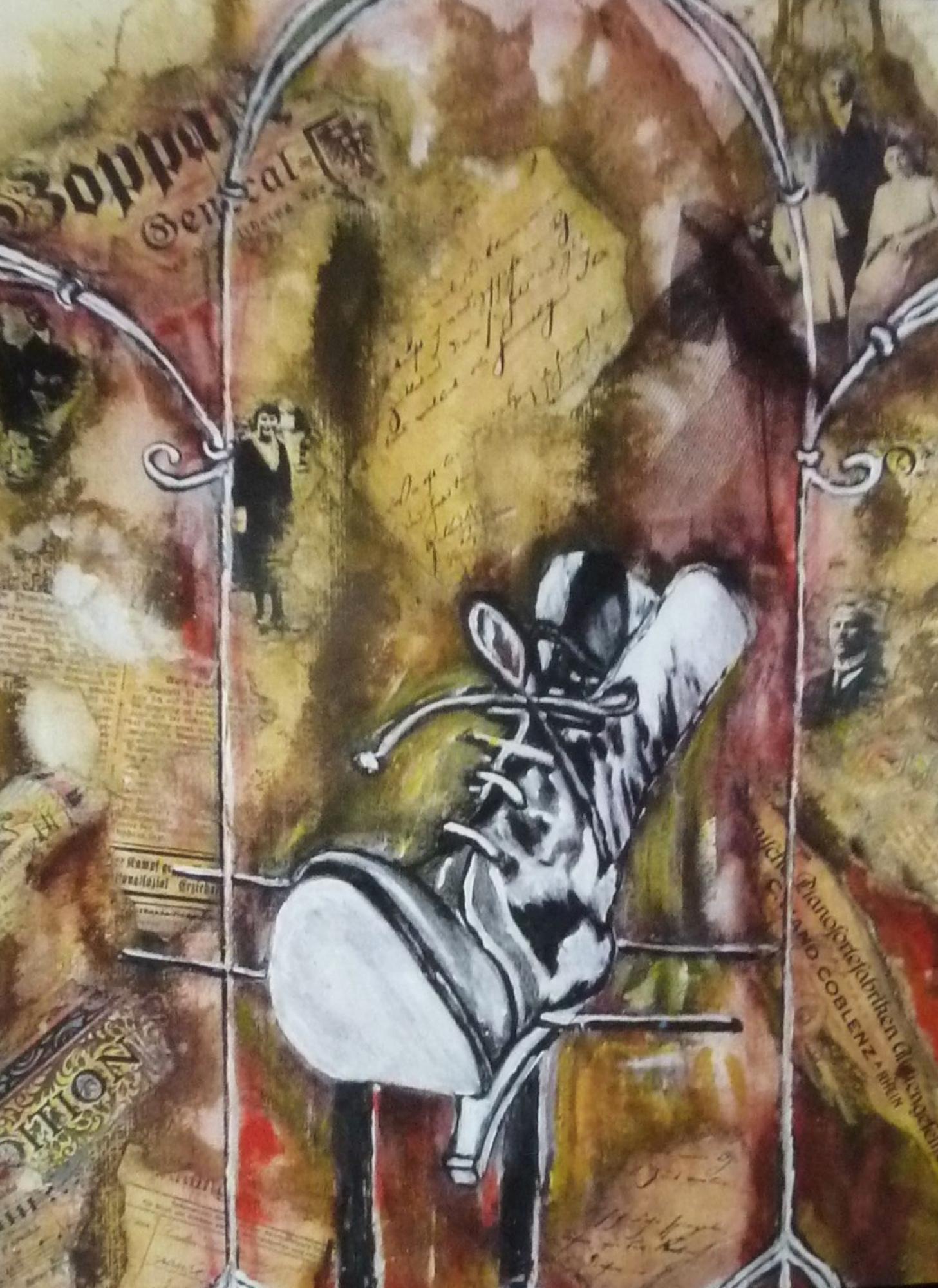 2003 - Nostalgie - Schuh - 50x40cm, Acryl-Collage