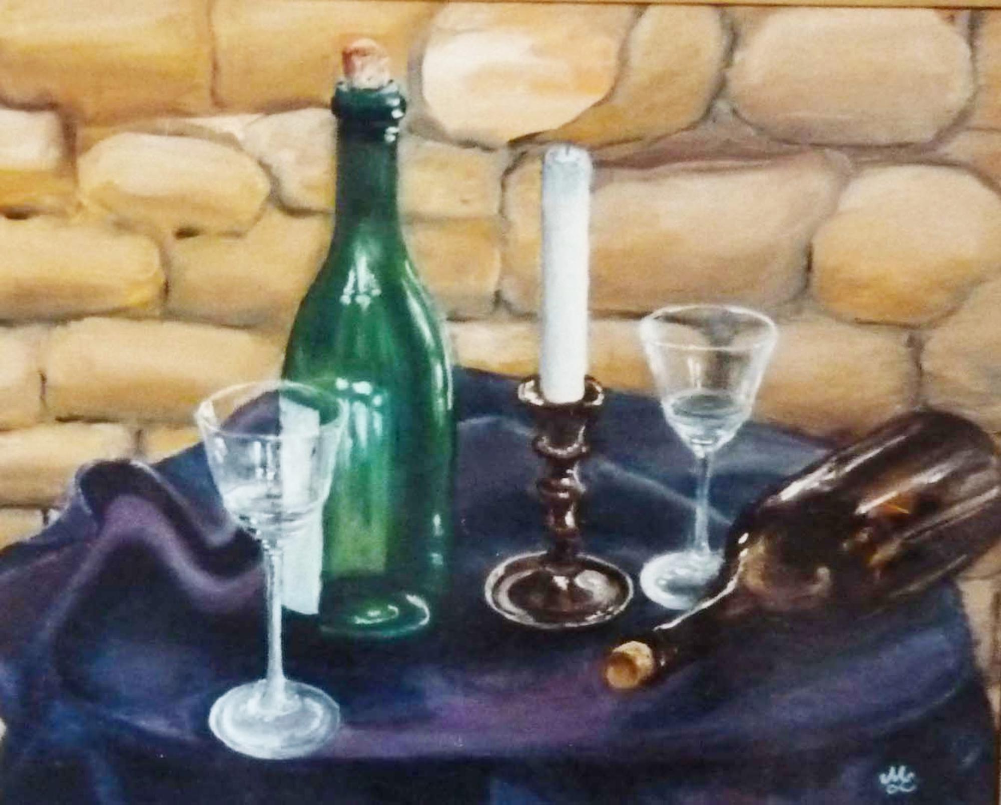 2000 - Flasche, Kerzen, Gläser, 40x30 cm, Öl