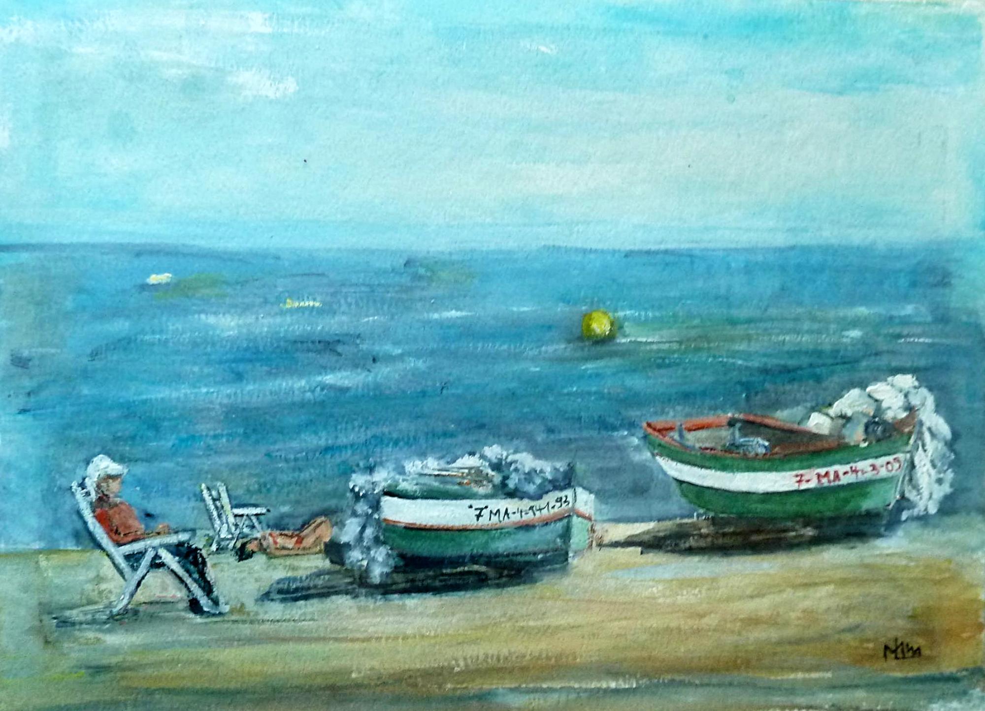 2010 - Am Meer, 40x50cm, Acryl-Spachteln