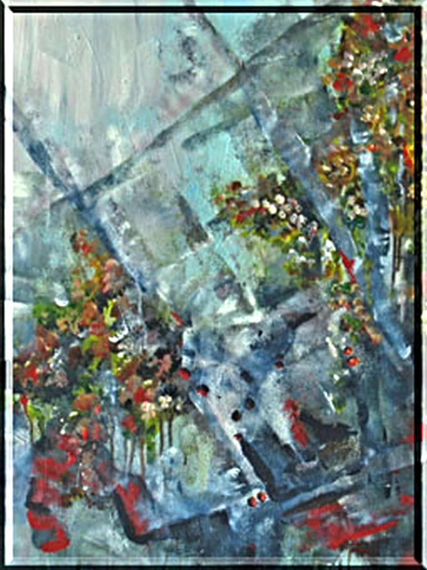 2003 - Blumengitter, 40x50cm, Acryl-Spachteln