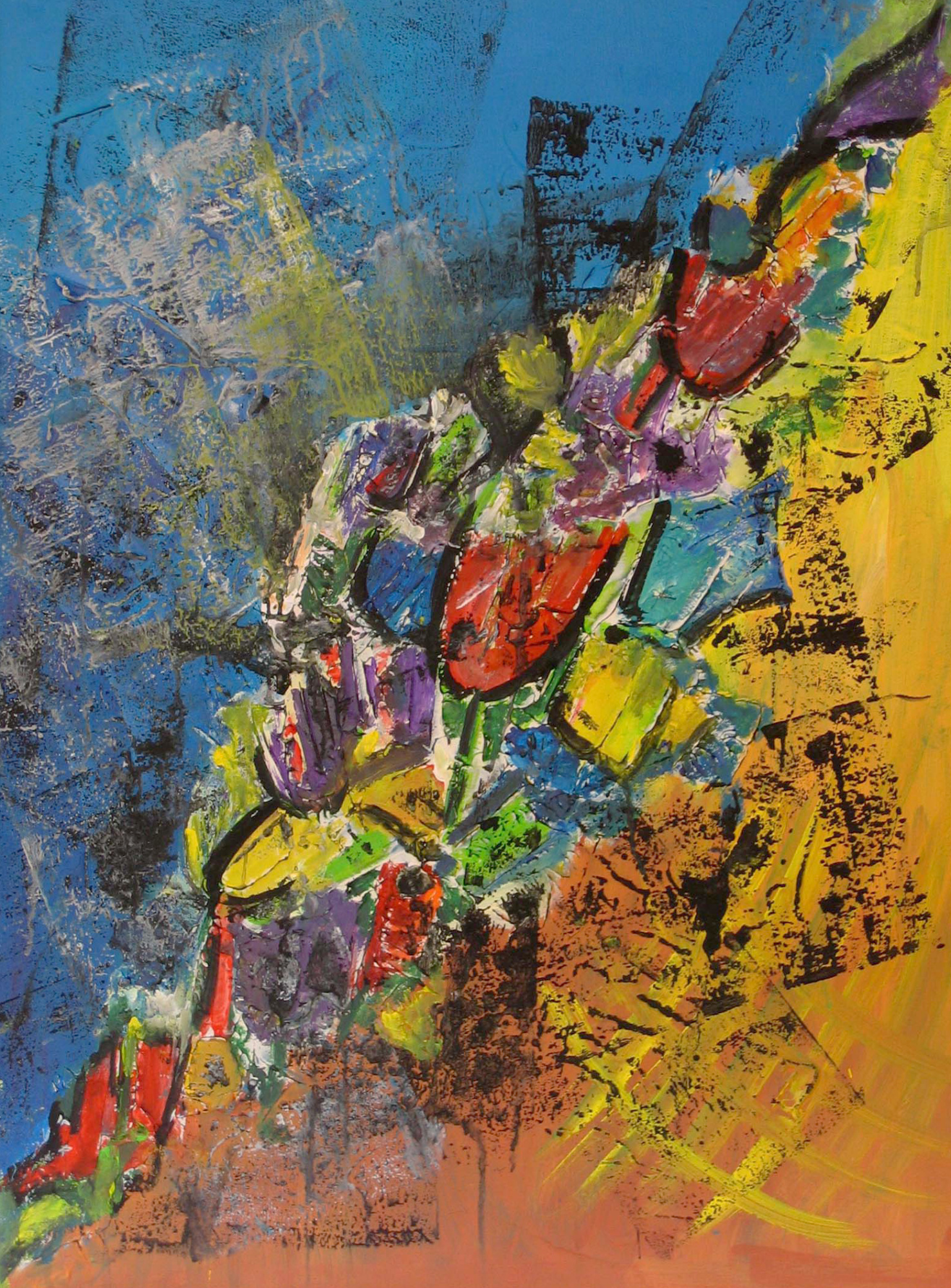 2009 - Frühling, 60x80cm, Acryl-Spachteln