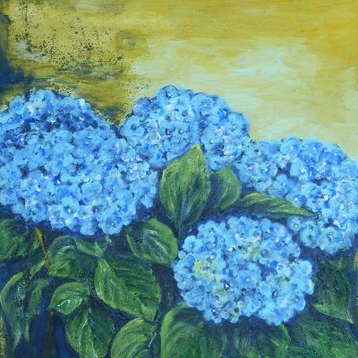 2010 - Hortensie blau, 50x40cm, Acryl-Spachteln