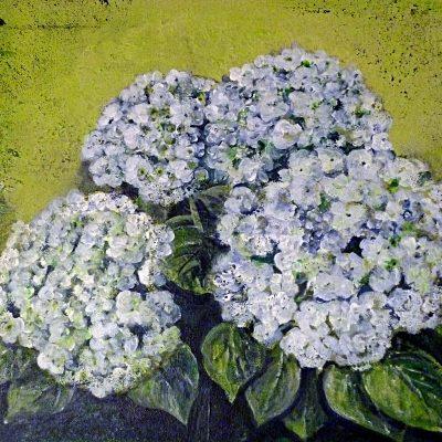 2010 - Weiße Hortensien, 50x40cm, Acryl-Spachteln