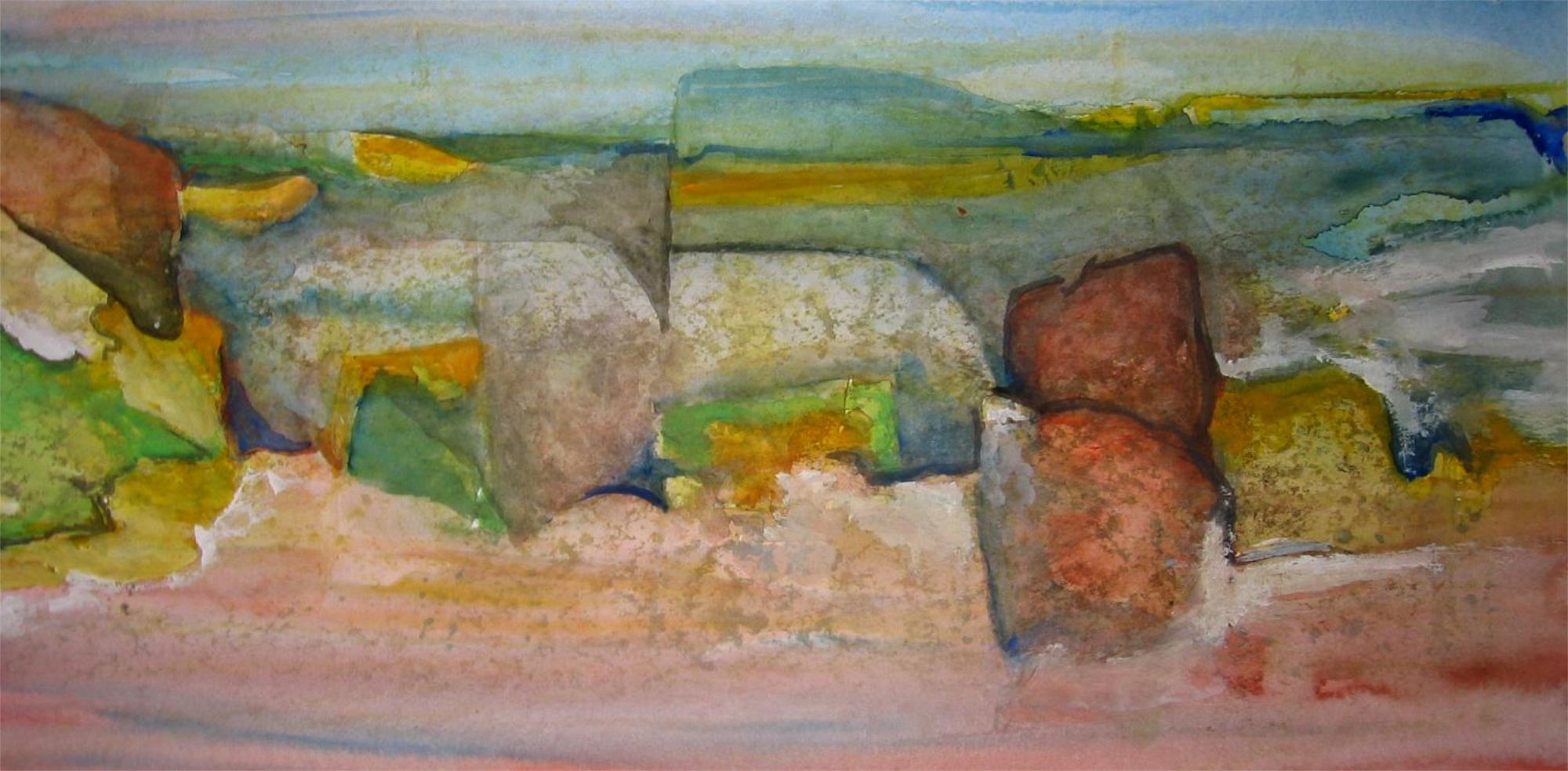 2004 - Schweigende Steine, 60x30cm, Aquarell
