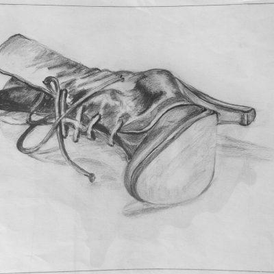 1991 - Damenschuh, 50x40cm, Bleistift